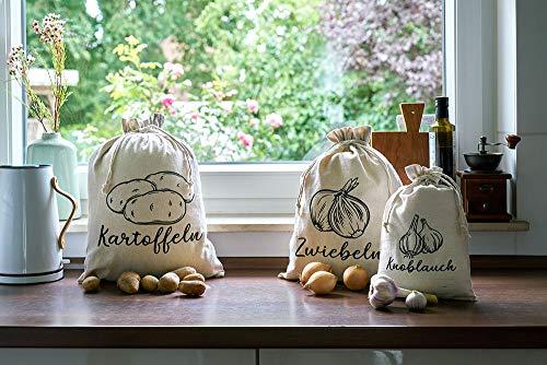 | 3er-Set, Gemüsebeutel aus Leinen-Stoff zur Aufbewahrung, je 1x mit Aufdruck für Kartoffel, Zwiebel, Knoblauch