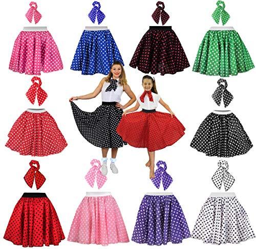 Costume da donna a pois, stile anni '50, gonna lunga 26 cm a pois + sciarpa, abito rock...