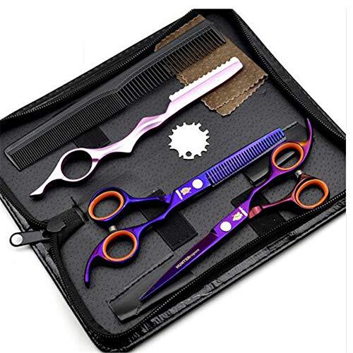 Ciseaux Coiffure Combinaison Set Super Sharp Professionnel Ciseaux de coiffeur Outil Salon Mince Trousse 6.0 Pouce Parfait pour les femmes et les hommes (VIOLET)