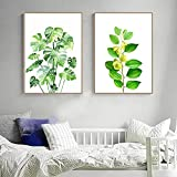 Acuarela planta hojas lienzo pintura hoja de plátano verde pared arte cartel e impresiones nórdico minimalista decoración del hogar sin marco-40x60cmx2