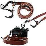 Tour de cou en cuir brun / Lanière pour appareil photo Olympus OM-D E-M10 Mark II,...