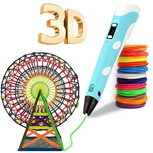 Penna 3D, penna 3D con stampa 3D con 12 colori a filamento PLA, compatibile con PLA e ABS, schermo LCD, 3D Pen giocattoli / regali per bambini