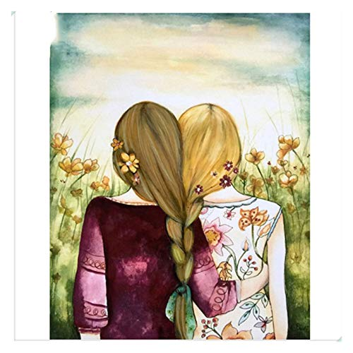 Pintura de Bricolaje por números Kit de Adultos para niños Principiantes, con 3 Pinceles, Lienzo, habitación, decoración de Pared, Marco, 2 niñas (Size : 40x50cm)