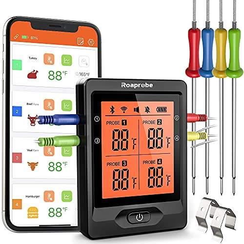 Termometro Digital cocina barbacoa inalámbrico 328 pies Bluetooth Termometro Cocina de barbacoa de largo alcance y termómetro de barbacoa recargable con retroiluminación de aplicación inteligente