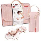 Portable Diaper Changing Pad Waterproof – B0NUS Insulated Baby Bottle Bag, 2-in-1 Diaper Clutch and Changing Mat, Wipe Clean Portable Changing Pad with Built-in Head Cushion (Peach)