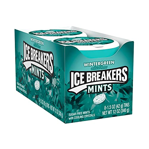 ICE BREAKERS Wintergreen Flavored Sugar Free Breath Mints, Bulk Mint Candy, 1.5 oz Container (8 Count)