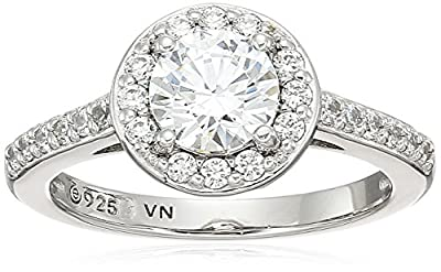 Platinum-Plated Sterling Silver Round-Cut Halo Ring made with Swarovski Zirconia (small version), Size 6