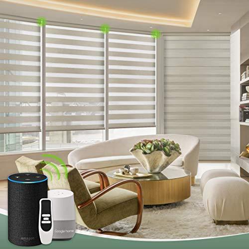 Yoolax Smart Zebra Doppelrollos Automatische Elektrische Rollladen Alexa Google Home Sprachsteuerung lichtdurchlässig und verdunkelnd Anpassung, 80% Verdunkelung, Braun
