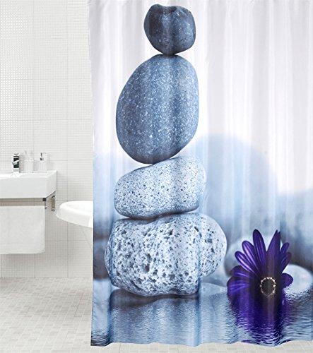 Duschvorhang Energy Stones 180 x 180 cm, hochwertige Qualität, 100prozent Polyester, wasserdicht, Anti-Schimmel-Effekt, inkl. 12 Duschvorhangringe