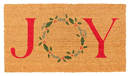 New KAF Home Holiday Coir Doormat with Heavy-Duty, Weather Resistant, Non-Slip PVC Backing | 17 by 30 Inches, 0.6 Inch Pile Height | Perfect for Indoor and Outdoor Use (Joy Wreath)