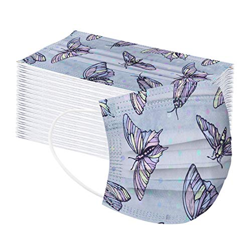 Hanomes Unisex_Mundschutz 10-100pcs Einweg 3-lagig Schmetterling Druck Atmungsaktiv Einfarbig Face_Cover Outdoor Anti-Staub Halstuch 1109