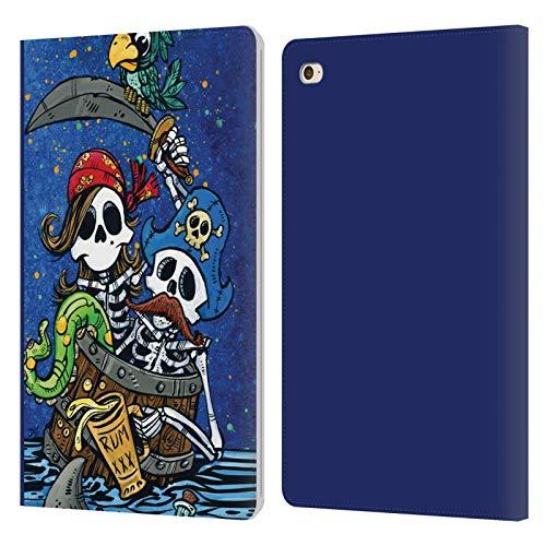 Head Case Designs sous Licence Officielle David Lozeau Couple Pirate Art Colorée Coque en Cuir à Portefeuille Compatible avec Apple iPad Mini 4