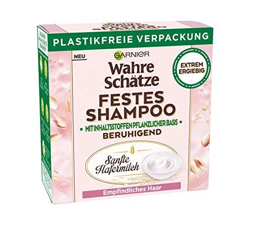 Garnier Wahre Schätze, Festes Shampoo Sanfte Hafermilch, mit beruhigender Hafermilch, für empfindliches Haar, biologische abbaubare Formel, vegan, 1 Stück
