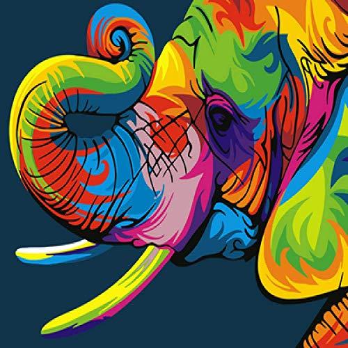 KX 5D DIY Diamond Painting by Number Kits Fameless Rhinestone Bordado Pinturas Imágenes para La Decoración del Hogar Elefante De Color Auspicioso