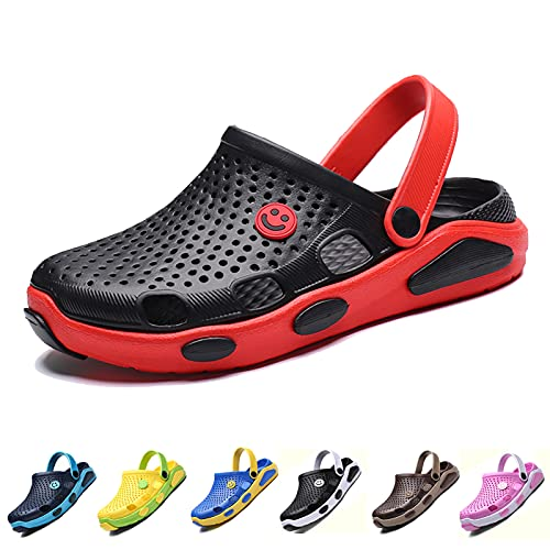 CYian Womens Mens Sandals Non Slip Slippers for Indoor and Outdoor Garden Mules Clogs Shoes with Elastic Strap,Black Red-Women8/Men 6