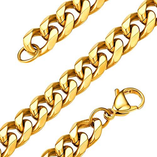 GoldChic Jewelry 9mm gouden kinketting voor heren, 18K vergulde platte Cubaanse schakel voor mannen, 28 inch