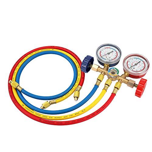 Refrigerant Manifold Gauge Set,manómetros aire acondicionado de refrigeración Diagnóstico para pruebas de refrigerante con manguera y gancho para R12 R22 R404A R134A