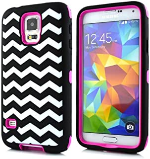 Galaxy S5 Case,Lantier Cute Simple Series Waves Pattern Heavy Duty Scratch Proof Full Body Protective Case With Soft Silicion Outer For Samsung Galaxy S5 I9600 Hot Pink