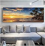 SHKHJBH Quadri su Tela Tramonti Spiaggia di Mare Naturale Palma da Cocco Pittura a Olio su Tela Poster e Stampe Immagini a Parete 50x150 cm Senza Cornice