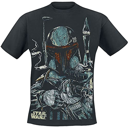 Bravado Star Wars-Boba Fett Sketch Camiseta, Negro (Schwarz 001), XL para Hombre