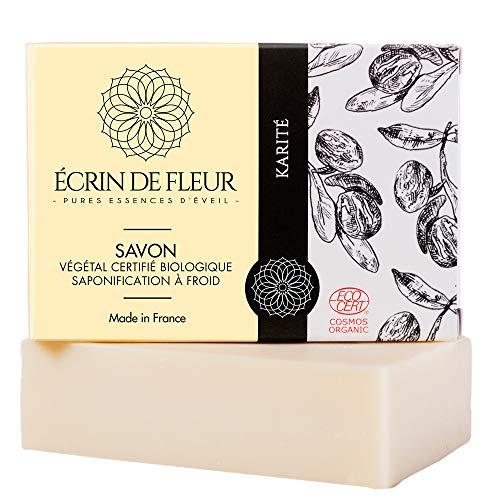 ÉCRIN DE FLEUR - Savon Bio au Beurre de Karité - Certifié Bio par Ecocert - Savon Surgras Fabriqué avec 40% de Beurre de Karité, Savon Artisanal, Savon Corps & Visage, Savon pour Peaux Sèches - 100g