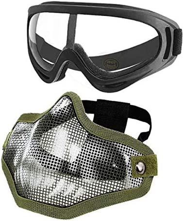 LAOSGE Airsoft Mask Mesh Half Face Skull Set with Goggles 1 Pack BBS Included 80 PCS Green product image