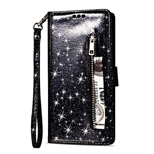 Artfeel Reißverschluss Brieftasche Hülle für Huawei Mate 20 Lite, Bling Glitzer Leder Handyhülle mit Kartenhalter,Flip Magnetverschluss Stand Schutzhülle mit Tasche und Handschlaufe-Schwarz