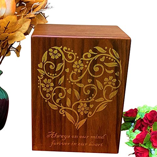Urns for Human Ashes Adult - Funeral Burial Wooden Humans Cremation Memorial Ash Box, extra large decorative wood remains earns boxes for male woman men dad mother mom medium size urn memory keepsake