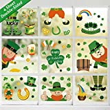 Tifeson St. Patrick's Day Window Clings Decorations - 74 PCS Shamrock Clover Leprechaun Static Window Sticker Decals for Lucky Day Home Office Decor - Saint Patrick's Day Irish Party Decorations