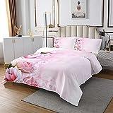 Juego de colcha acolchada rosa rosa floral acolchado colcha para niños y niñas y mujeres románticas flores ropa de cama 3D Vivid Rose Room 3pcs tamaño doble