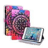 Miagon Coque pour iPad 5/6/7/8/9 {9.7 Pouces},PU Cuir Cover Housse Étui de Protection avec Support Emplacements Cartes,Mandala Fleur