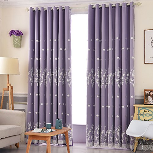 Swags Living Curtains Bedroom Decorative Double Layer Drapes Shade Insulation Cloth Printing Linen Floor high Grade Embroidery Fashion Modern 1 Panels-Purple W150xH270cm(59x106inch)