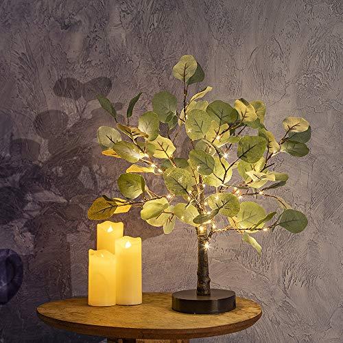 bvanarn DecorativeTree Light | LED Light Tree Decorations Indoor with 50 Warm White Light | Battery/USB Operated Fairy Light Tree Lamp| Light Up Tree for Bedroom Table Decor(Eucalyptus Tree)