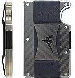 Martrams - Porta Carte Di Credito In Fibra Di Carbonio Con Chiusura RFID, Fermasoldi Elastico Antiscivolo Minimalista, Portafogli Frontale In Alluminio, VERSION 2018