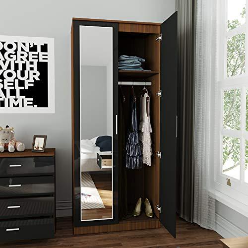 Elegante armario de 2 puertas con espejo de alto brillo negro/nogal 1780 x 760 x 450 mm conjunto de muebles de dormitorio