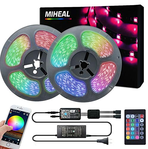 Miheal Led Light Strip, WiFi Wireless Smart Phone Controlled 65.6ft Non-Waterproof Strip Light Kit Black PCB 5050 LED Lights,Working with Android and iOS System,IFTTT
