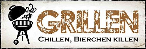 Creativ Deluxe Metallschild Grillen - Chillen - Bierchen Killen/Metallschild/Blechschild/Dekoschild/Wandschild/wetterfest/Innenbereich/Außenbereich/Motivation/Vintage