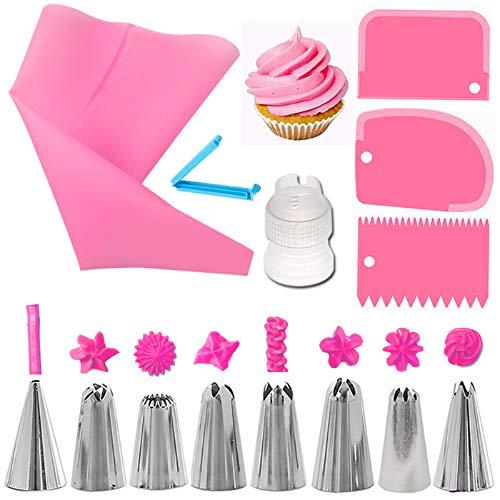 Límite-MX 14 Piezas kits de Boquillas para Manga Pastelera , Decoración de Pasteles Incluyendo 8 Boquillas Reutilizables de Acero Inoxidable, 1 acopladores de plástico...