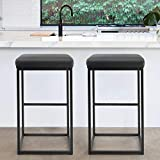 PHI VILLA Bar Stools Set of 2,30 Inches Square Leather Counter Height Bar Stools Without Back for Kitchen,Dining Room and Living Room,Modern Designed Bar Stools Furniture Decorates Every Room,Black