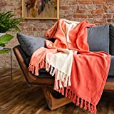 Refinery29   Riley Collection   Premium Cotton Textured Throw Blanket, Modern Dip Dye Fringe Design for Luxury Home Décor (50 x 70, Coral)