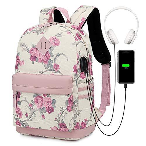 Mochila de lona con puerto de carga USB, informal, de gran capacidad, ideal para adolescentes y niñas