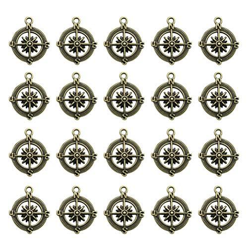 Fenical 20 stücke Niedlichen Charme Kompass Form DIY Handgemachte Accessoires Halskette Anhänger Schmuck Machen Lieferungen für Party Favors Dekorationen (Bronze)
