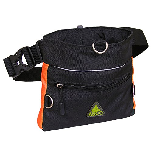 ASCO Futterbeutel, Leckerlibeutel für Hunde, Pferde mit Einhand-Schnappverschluss, 20x20cm, Premium Futtertasche orange AC63TB