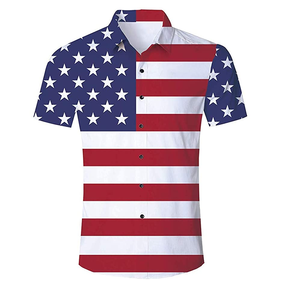 Nevera Mens Fashion Casual Short/Long Sleeve Blouse, Mens July 4th Independence Day Printing American Flag T-Shirt