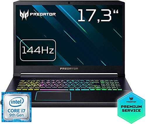 Predator Helios 300 (PH317-53-72H9) 43,9 cm (17,3 Zoll Full-HD IPS 144 Hz) Gaming Laptop (Intel Core i7-9750H, 16 GB RAM, 1.000 GB PCIe SSD, NVIDIA GeForce RTX 2070, Win 10 Home) schwarz/blau