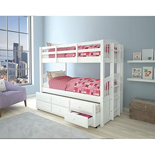 Bunk Bed Full Over Full with 2 Separable Beds for Family Bedroom with Security Fence for Student Dormitory Modern Style Bunk Beds are More Beautiful and Practical U.s. Local Delivery (Color : White)