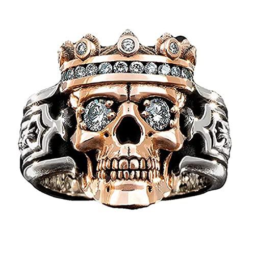 QKFON Anillo de calavera de guardián, anillo de cabeza de cráneo de piedras preciosas para hombres y mujeres, anillo de diamante retro de dos colores, joyería de regalo para novias marido