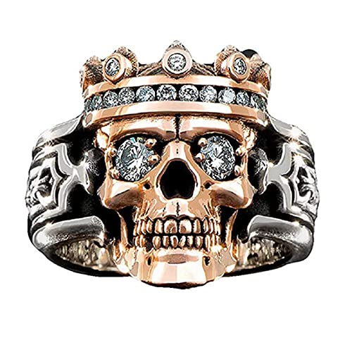 woyada Anillo de rey de calavera guardiana para hombres y mujeres de dos colores retro corona diamante anillo joyería regalo