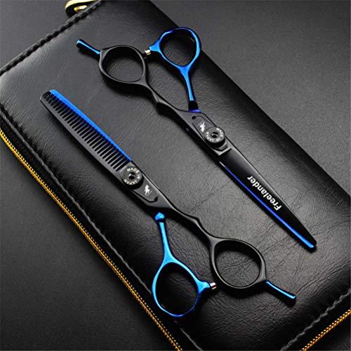 YLLN Professional Ciseaux à Cheveux ET Ciseaux à éclaircir Les Cheveux, 6,0 Pouces Ciseaux de Coiffeur Noir Bleu, Plus Cas de présentation
