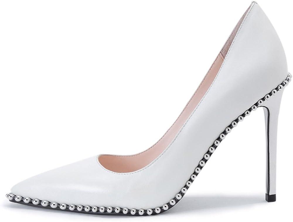 Womens Branded goods Fashion Pointed Toe Genuine Leather High Sti Slip Heel On Popularity